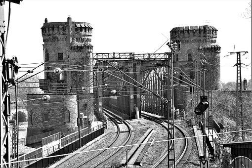 Railroad, Bridge, Monochrome, Towers, Railway, Rails