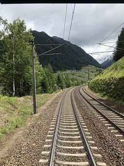 Railroad, Mountains, Countryside, Railway, Rail Tracks