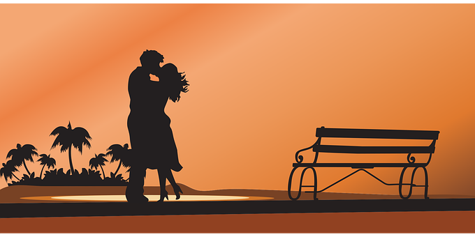 Couple, Sunset, Beach, Palm, Love, Relationship, Kiss