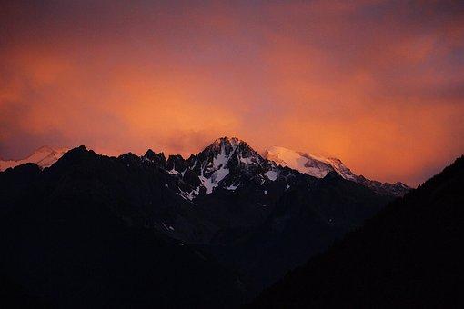 Mountain, Sunset, Snow, Adamello, Tonale