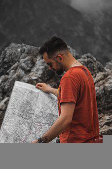 Man, Map, Traveler, Tourist, Guy