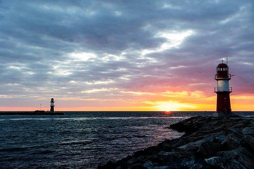 Lighthouse, Sunset, Horizon, Pier, Coast, Water, Sky
