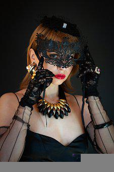 Woman, Veil, Mask, Costume, Black Dress