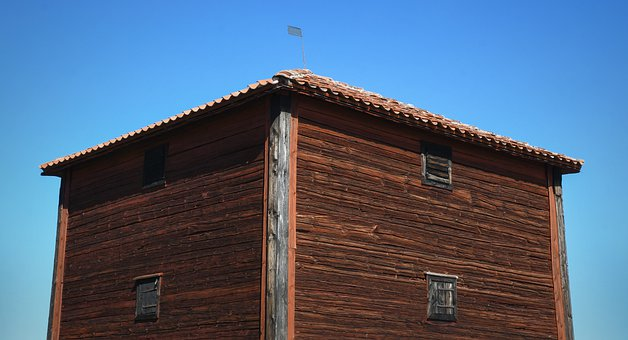 House, Wooden House, Red, Wood, Himmel, Blue