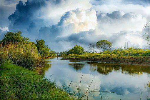River, Clouds, Reflection, Bridge, Trees, Grass, Bank