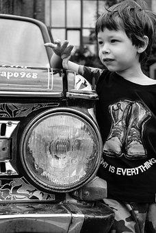 Boy, Kid, Car, Headlight, Light, Stylish, Fashionable