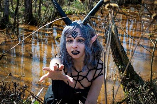 Demon, Horns, Cosplay, Woman, Girl, Costume, Makeup