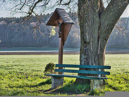 Crucifix, Bench, Field, Tree, Seat, Jesus, God, Cross