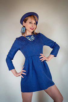Woman, Hat, Blue Dress, Cap, Blue, Retro, Vintage