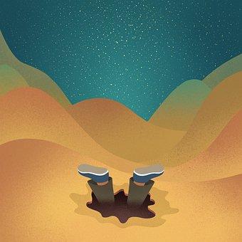 Desert, Man, Hole, Fall, Sand Dunes, Sahara, Surreal