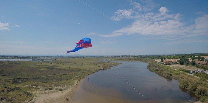 Kite, Sky, Beach, Marsh, Water, Nature, Clouds, Horizon