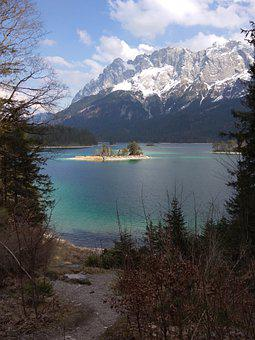 Mountains, Lake, Island, Bank, Coast, Trees