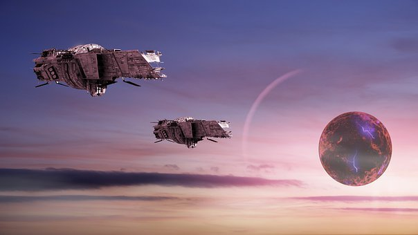 Spaceships, Planet, Sky, Clouds, Earth, Space, Light