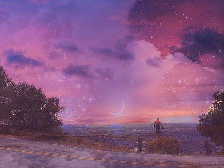 Sky, Pink, Spring, Nature, Moon, Clouds, Sakura, Sunset