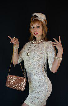 Fashionista From The 20s, Pen, Glamour, Vintage, Retro