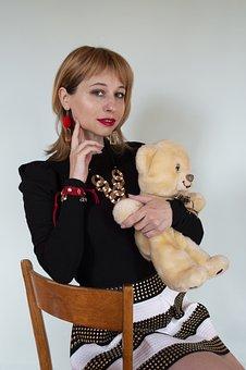 Fashion, Woman, Teddy Bear, Portrait, Girl, Pose, Toy