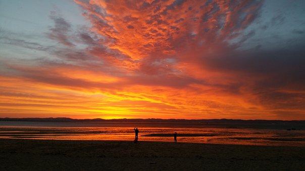 Sunset, Landscape, Red, Sky, Sun, Light, Orange
