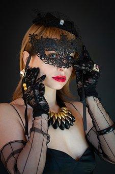 Woman In Lace Mask, Lace Eye Mask, Veil, Retro, Vintage