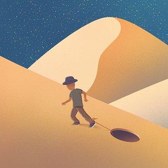 Desert, Man, Captivity, Rope, Hole, Escape, Sand Dunes