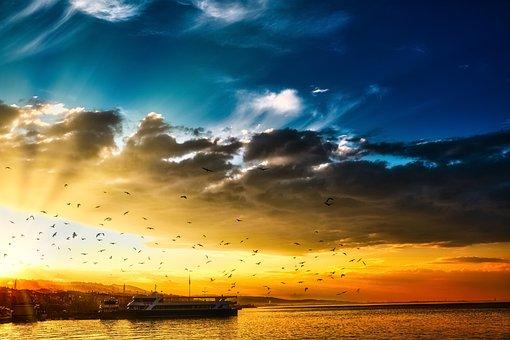 Sunset, Port, Sea, Ship, Flying Birds, Sunlight, Clouds