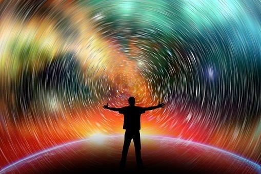 Star Trail, Space, Man, Silhouette, Person, Stars