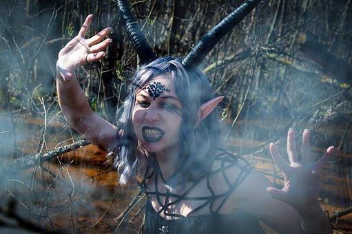 Demon, Horns, Cosplay, Smoke, Woman, Girl, Costume
