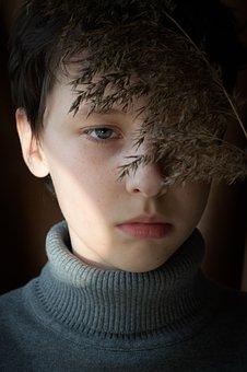 Boy, Teen, Face, Turtleneck, Sweater, Dry Plant