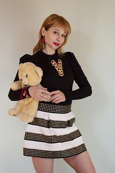 Fashion, Woman, Teddy Bear, Portrait, Girl, Skirt