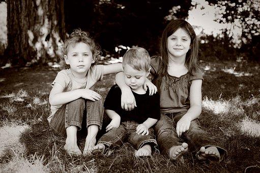 Three Kids, Children, Kids, Girls, Boy, Black And White