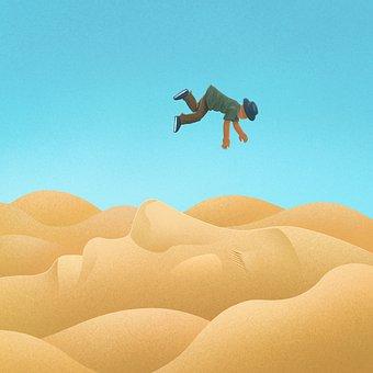 Desert, Man, Fall, Traveler, Sand Dunes, Sahara