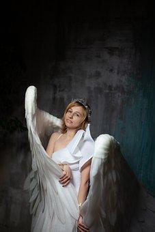 Woman, Wings, Angel, Model, Crown, Girl With Wings