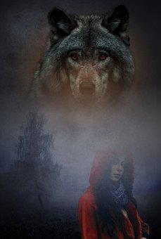 Wolf, Woman, Fantasy, Girl, Red Hoodie, Animal