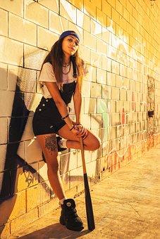 Model, Girl, Baseball Bat, Fashion, Wall, Woman, Young