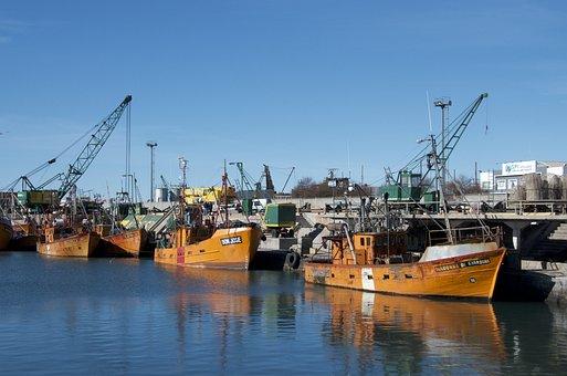 Port, Boats, Sea, Cranes, Harbor, Fishing Boats, Bay