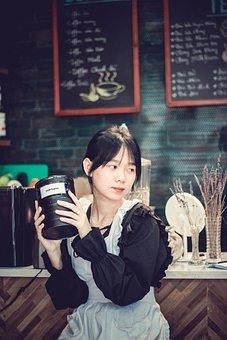 Woman, Model, White Apron, Cafe, Beauty, Beautiful