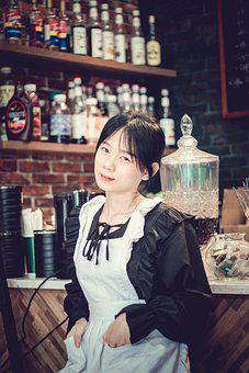 Woman, Model, White Apron, Cafe, Beauty, Beautiful