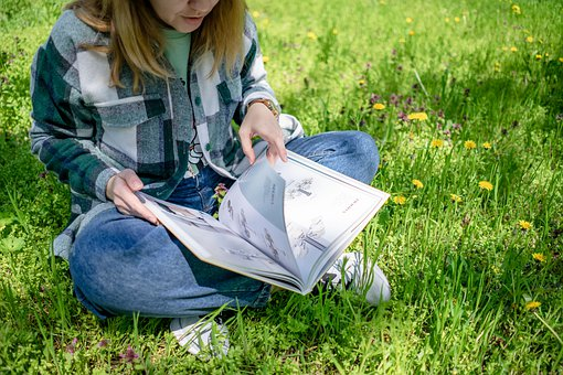 Woman, Book, Reading, Grass, Sit, Sitting, Open Book