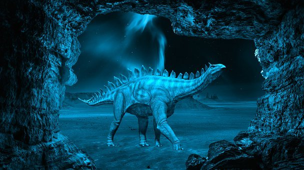 Dinosaur, Night, Cave, Stegosaurus, Animal, Reptile