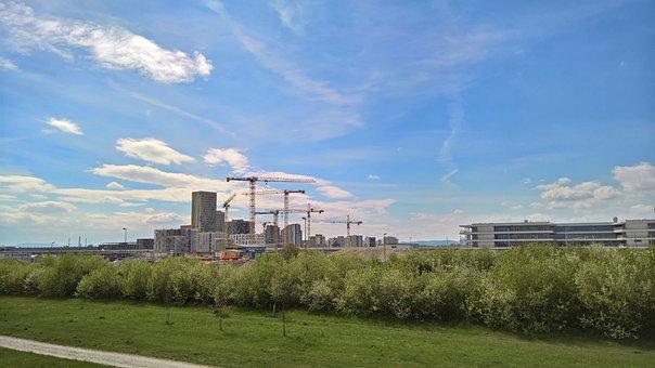 City, Cranes, Construction, Seestadt Aspern