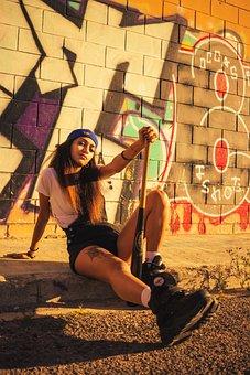 Model, Girl, Baseball Bat, Graffiti, Wall, Fashion