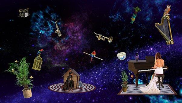 Music, Universe, Woman, Girl, Galaxy, Infinite, Pianist