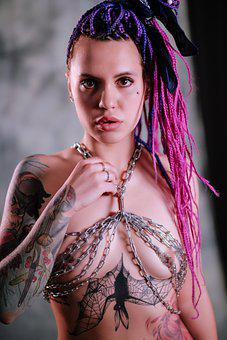 Girl, Tattoo, Naked, Beauty, Chain, Color, Bat