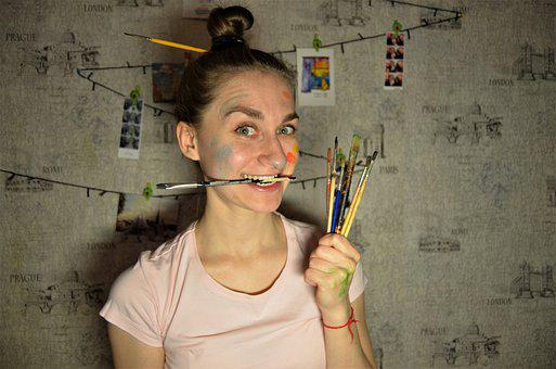 Girl, Brush, Drawing, Painting, Woman, Person, Rainbow