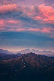 Great Wall Of China, Mountains, Sunset, Panorama