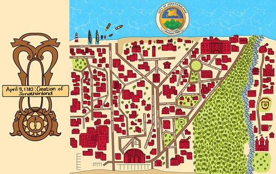 Map, Jonathanland, City, Ocean, Water, Sea, Buildings