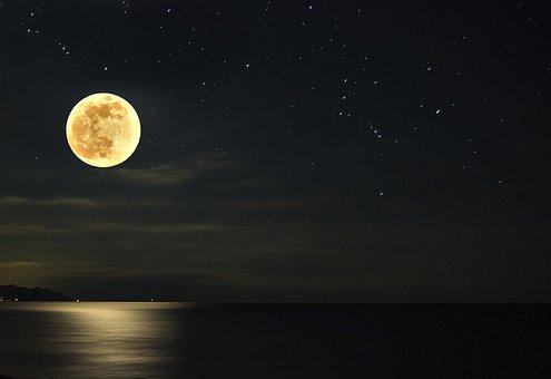 Moon, Night, Stars, Sea, Dark, Landscape, Sky, Lunar