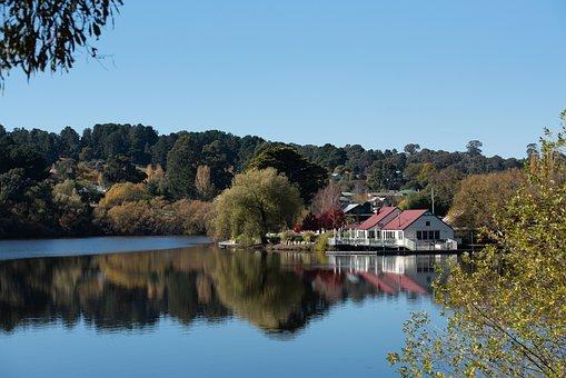 Lake, Boathouse, Reflection, Lake Daylesford, Water