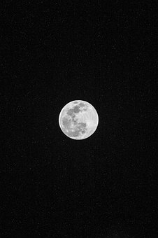 Moon, Full Moon, Night, Sky, Night Sky, Stars