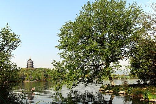 Lake, Park, Pagoda, Tower, Leifeng Pagoda, Water