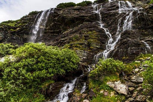 Mountain, Waterfalls, Bushes, Water, Aurland, Landscape